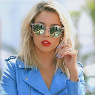 sunglasses quay mirrored sunglasses red lipstick hairstyles blonde hair jacket blue jacket nail polish silver sunglasses