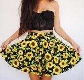 skirt,sunflower,cute,flowy,summer,shirt,corset,lace,bralette,bralet top corset bra,black,black skirt,floral,high waisted skirt,crop tops,flowers black yellow,flowers,skaterskirt,floral skirt,black and yellow,top,lace bustier,strapless,outfit