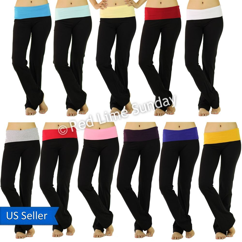 Fold over stretchy solid color black yoga casual cotton tight pants leggings