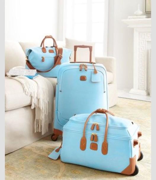 bag blue travel multi pieces luggage travel bag suitcase