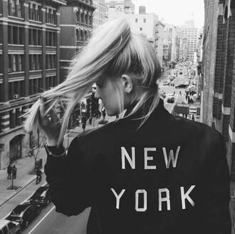 jacket new york city new york black jacket blonde hair grunge jacket edgy
