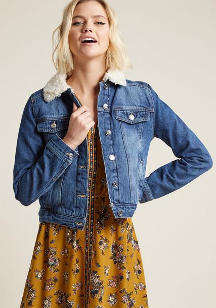 Modcloth jacket denim jacket denim blue