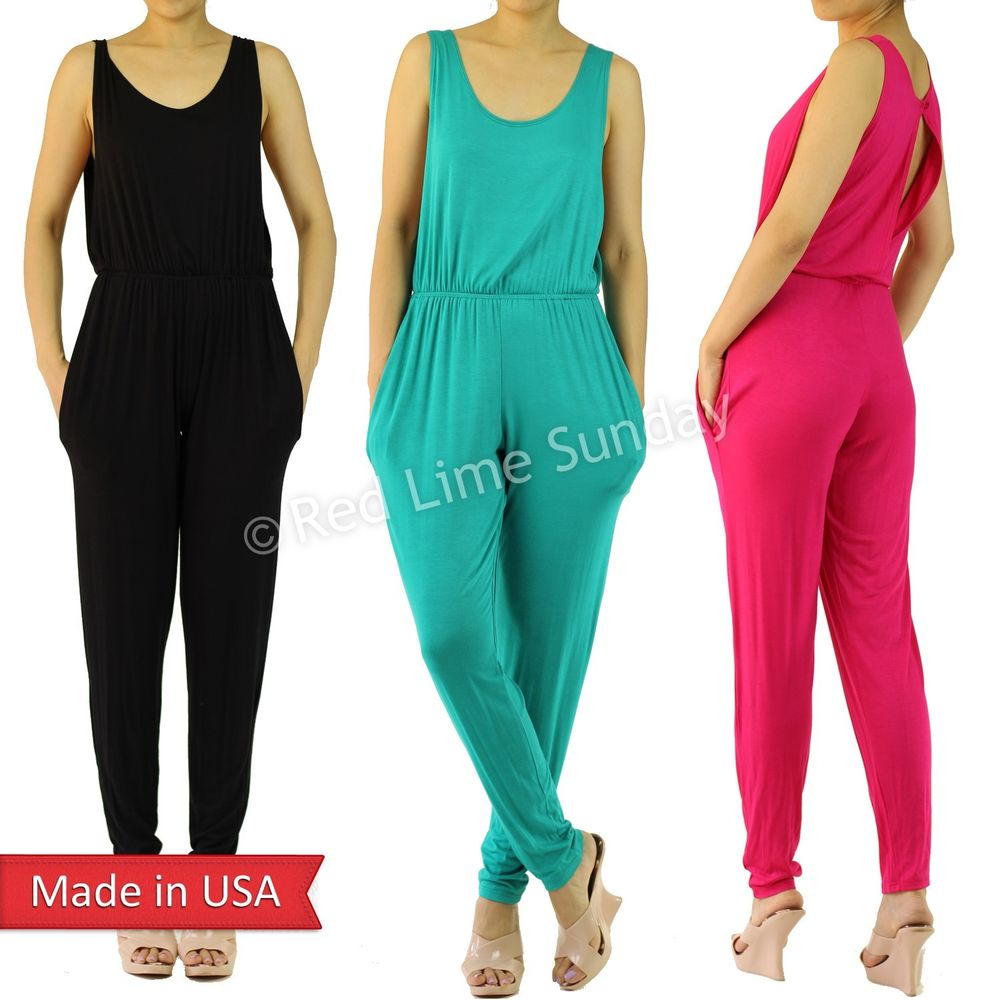 Lightweight Color Casual Open Back Black Fuchsia Turquoise Romper Jumpsuit USA