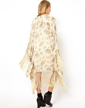 ASOS | ASOS Kimono Fringed Dress In Floral at ASOS