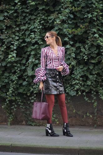 from brussels with love blogger blouse skirt tights shoes bag striped blouse ankle boots leather skirt tote bag