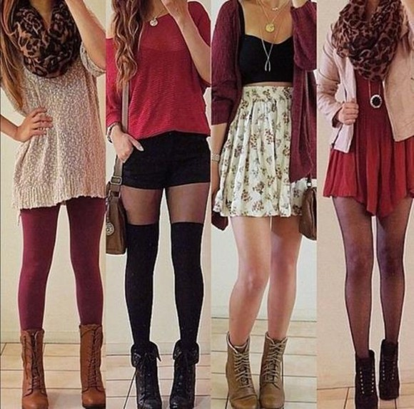 scarf red cheetah cute skirt sweater cardigan boots jewlery tights shorts shirt