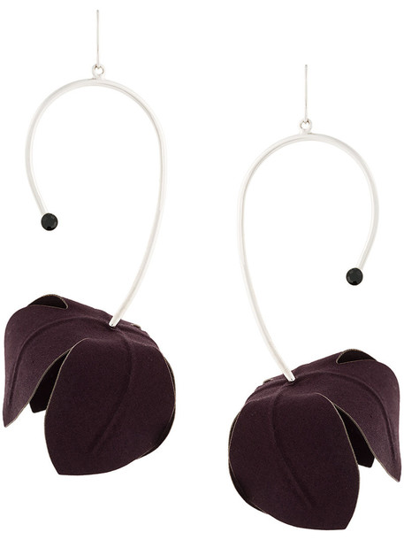 MARNI metal women earrings floral cotton grey metallic jewels