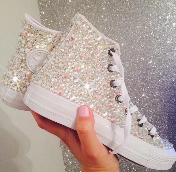 Shoes: rhinestones, diamonds, converse, high top converse ...