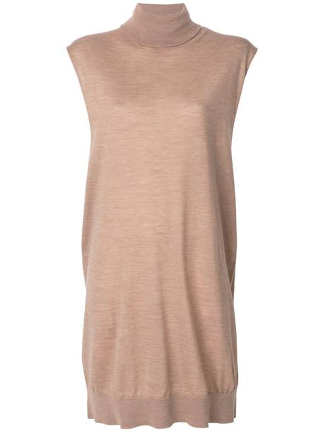 Erika Cavallini dress sweater dress sleeveless women wool brown