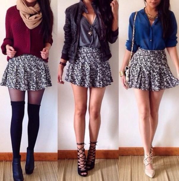 cardigan scarf shoes socks skirt jacket shirt blouse
