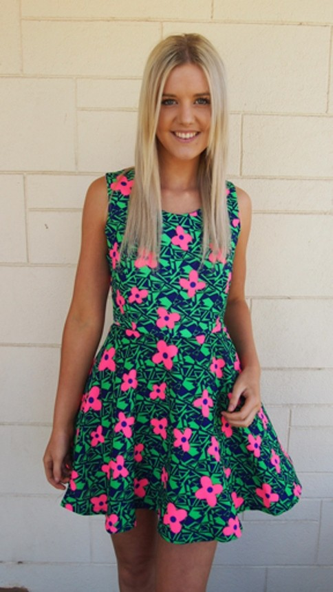 Pink and Green Floral Sleeveless Dress