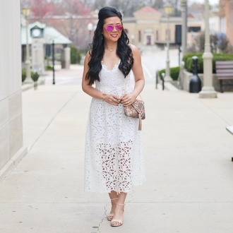 morepiecesofme blogger sunglasses jewels bag dress shoes lace dress white lace dress sandals spring outfits