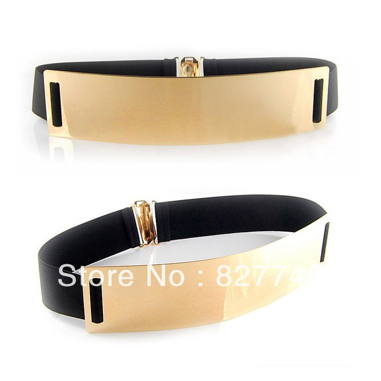 1 Pieces Free Shipping! Fashion Women Metal Plate Elastic Metallic Bling Gold Mirror Designer Wide Cummerbund Waist Belt-in Belts & Cummerbunds from Apparel & Accessories on Aliexpress.com