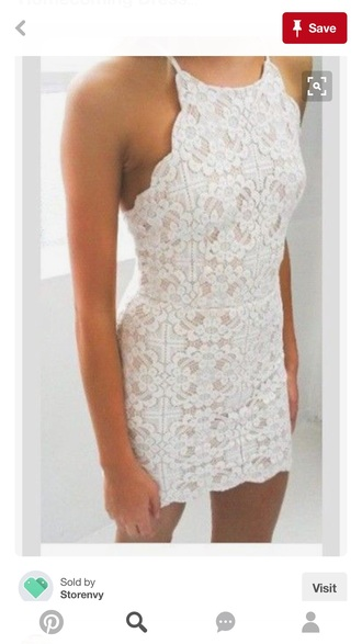 dress white dress lace dress halter top