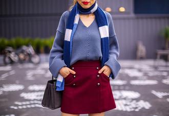 skirt a-line skirt mini skirt sweater scarf handbag blogger blogger style