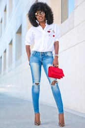 blogger,shirt,jeans,sunglasses,bag,shoes,button up,white top,white blouse,black girls killin it,skinny jeans,ripped jeans,red bag,mini bag,animal print,long sleeves,zara,patchwork