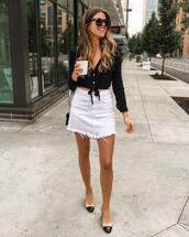 skirt,high waisted skirt,mini skirt,white jeans,chanel mules,cropped,black blouse,sunglasses,shoulder bag