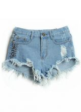 Blue Bleached Ripped Rivet Denim Shorts - Sheinside.com