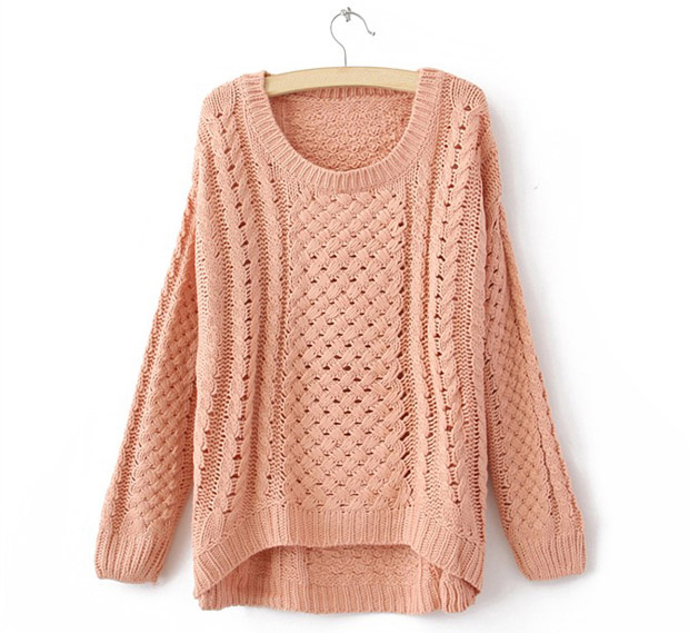 Korean Cute Round Neck Hollow Knitted Pullover Casual Loose Sweater Knitwear Z | eBay