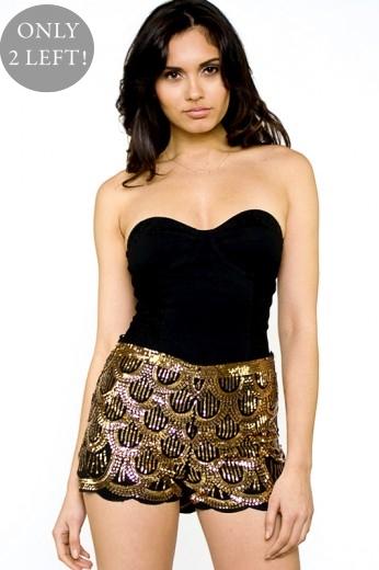 Scallop Sequin Shorts- $62