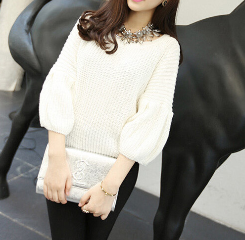Flare sleeve half sweaters