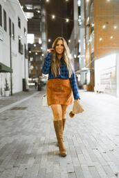 bohostylefile,blogger,top,shoes,leggings,skirt,dress,fall outfits,button up skirt,knee high boots,beanie
