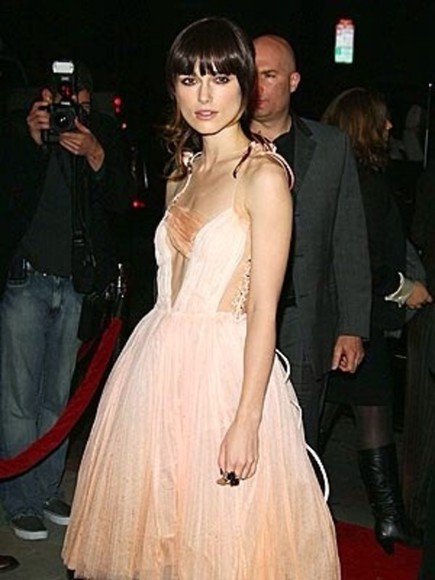 keira knightley dress unreal gorgeous fairytale dress light pink dress soft colours deep plunge neckline