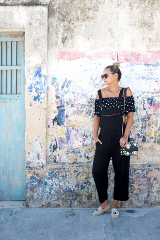 late afternoon blogger top bag shoes sunglasses jewels overalls off the shoulder top espadrilles