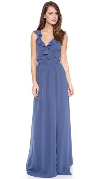 dress wrap dress ruffle moon blue