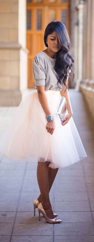 skirt white white skirt tulle skirt
