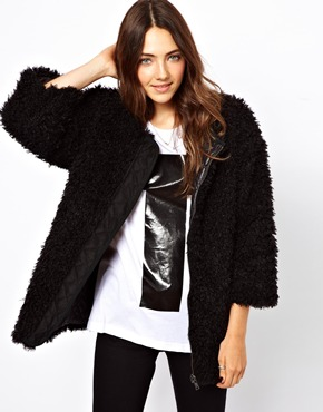 B AB | B AB Reversable Faux Fur Jacket at ASOS