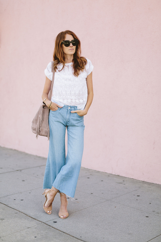 could i have that blogger jeans cropped jeans frayed jeans frayed denim nude sandals nude heels fringed bag spring outfits denim kick flare kick flare jeans