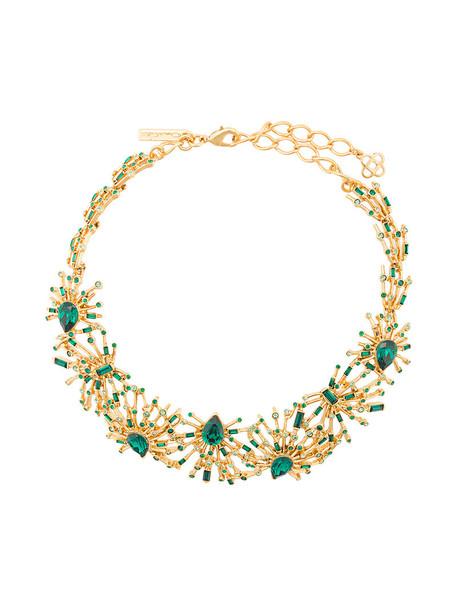 oscar de la renta women necklace green jewels