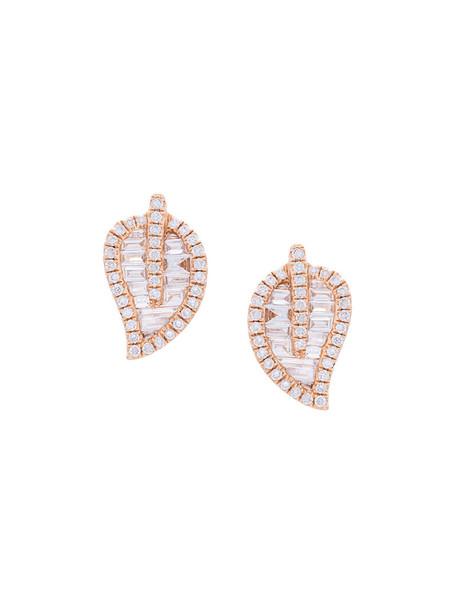 Anita Ko rose gold rose women earrings gold grey metallic jewels