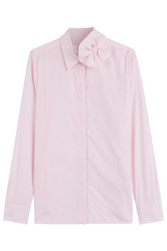 shirt bow cotton rose top