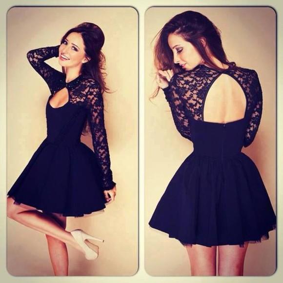 long sleeves blak dress backless knee length homecoming dress
