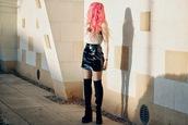 kayla hadlington,blogger,thigh high boots,vinyl,mini skirt,top,skirt,coat,tights,shoes,vinyl skirt