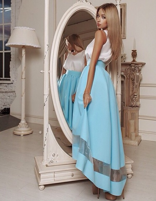 blue skirt hi low skirt high low skirt sky blue