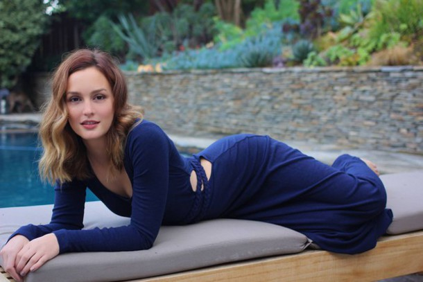 leighton meester long sleeve dress navy dress