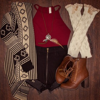 cardigan tribal pattern tribal cardigan aztec fashion style fall outfits shorts shoes socks top jewels