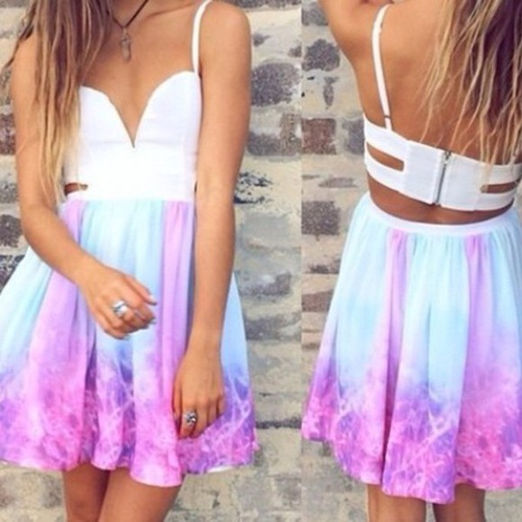 purple dress blue dress summer dress pastel
