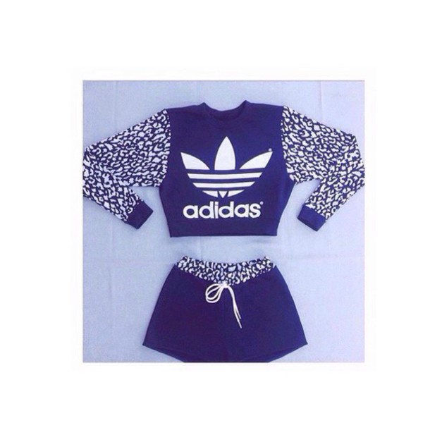 0bfff90b981 shoes blue and white adidas crop tops cropped hoodie cropped sweater adidas  shorts High waisted shorts