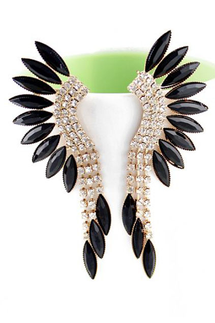 ROMWE | Black Gemstone Diamante Earrings, The Latest Street Fashion