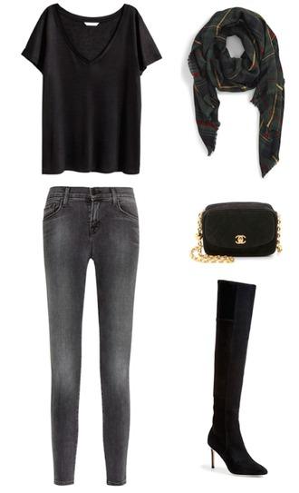 krystal schlegel blogger scarf bag shoes jeans t-shirt