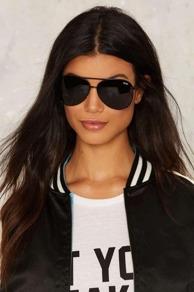 69456791269 Quay Black Aviator Sunglasses