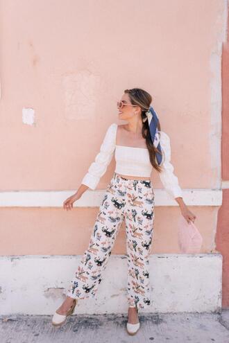 gal meets glam blogger top pants dress scarf sunglasses bag shoes crop tops floral pants espadrilles spring outfits