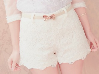 shorts lace shorts white shorts lace white bow belt shorts with bow cute girl kfashion korean fashion fashion koreanfashion