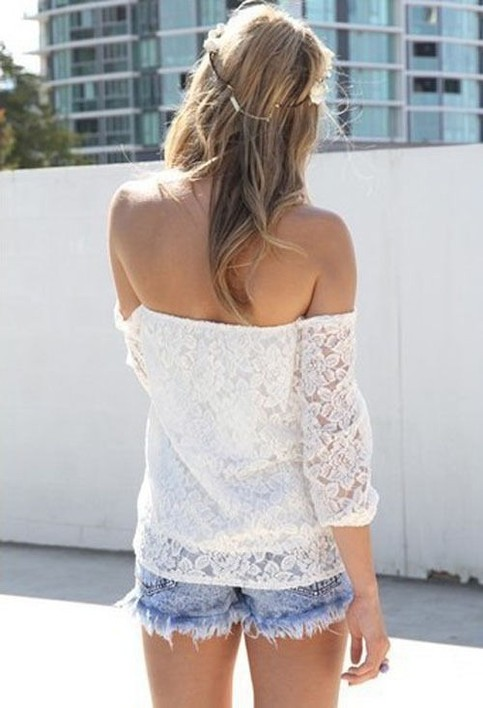 Outletpad | White Lace Off-shoulder Loose Tops | Online Store Powered by Storenvy
