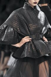 jacket,leather jacket,leather,black,dior,couture,seethroughskirt