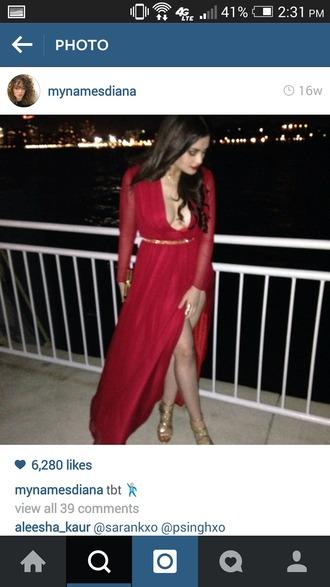 dress red dress long sleeve dress slit dress low v neck sheer sleeves